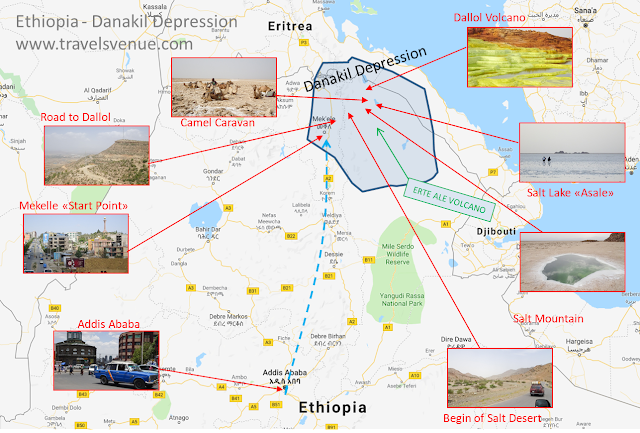 Dallol Volcano and the other attractions in the Ethiopian desert on a map