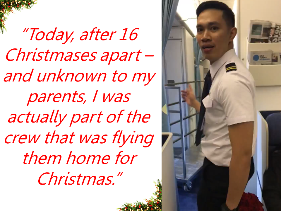 A touching story of a kid longing to be with his parents who are working overseas , dreamt of being a pilot to fly his mom and stepdad home for Christmas. A simple childhood dream that came into reality.    In a touching video watched by over a million people on social media, Juan Paulo Fermin is seen walking with a bouquet of flowers towards the seat where his mother was sitting on board plane in Vancouver when the flight going to Manila changed crew in Canada.   Sponsored Links    The video got heavily emotional when Fermin's mother got to see her son. You can tell that she was surprised big time seeing her son on a plane on their way home. For the first time in a long time she got to see and embrace her son again.    Fermin said that he actually planned for it when he found out a month prior that his parents would be flying via Philippine Airlines. He even asked a colleague to switch schedules with him so he could be in the cockpit on his parents' flight. The colleague agreed and he flew serving as the 2nd officer assisting the captain for the flight.    His mom had to leave him when he was 8 to marry his stepfather. He said his parents would usually visit the Philippines every 3 years, but this would be their first Christmas in the Philippines in 5 years.     Fermin and his mother could spend Christmas together for the first time after long years of being apart.   Advertisement  Read More:                        ©2017 THOUGHTSKOTO
