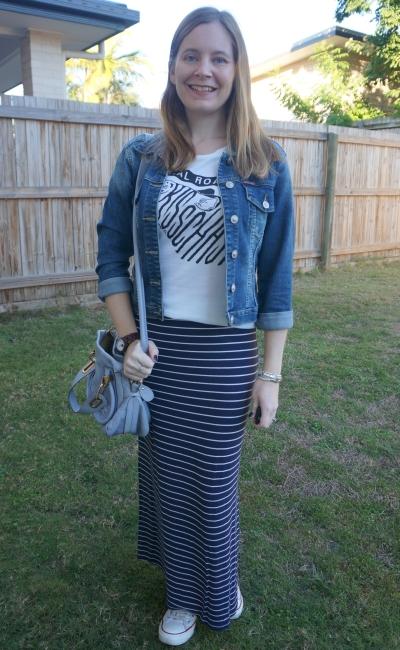 denim jacket, band tee, navy stripe maxi skirt, converse, Chloe paraty | awayfromtheblue
