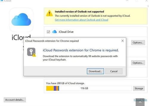The iCloud password arrives on Windows via the Chrome extension