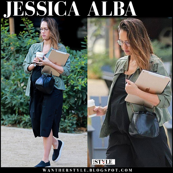 Jessica Alba in green cropped jacket, black dress and black sneakers vince maternity street fashion november 21