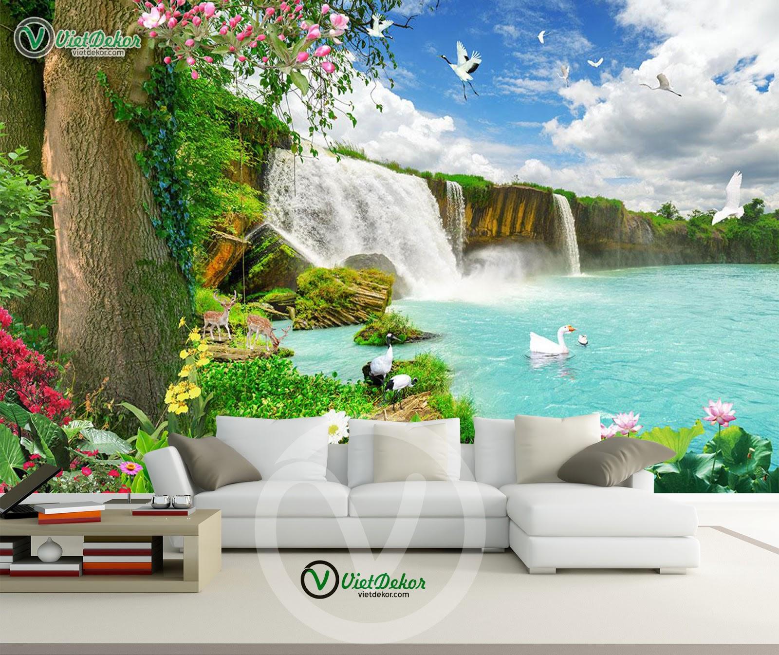 Tranh dán tường phong cảnh cho phòng khách đẹp
