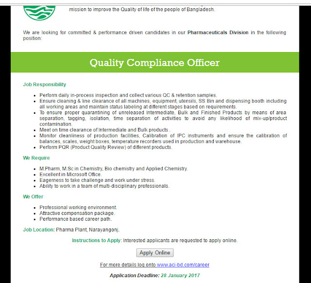 Aci limited post quality compliance officer jobs - Compliance officer bank job description ...