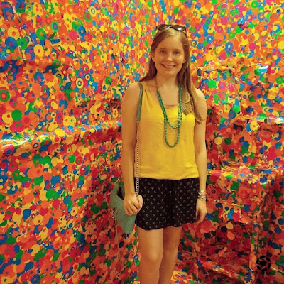 awayfromblue instagram OOTD at Yayoi Kusama The Obliteration Room Exhibit at GOMA Brisbane