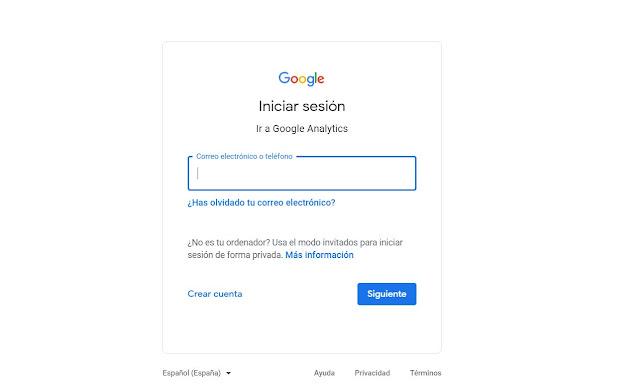 Ingresamos a Google Analytics logeandonos con nuestro usuario y contraseña que usualmente es de gmail.