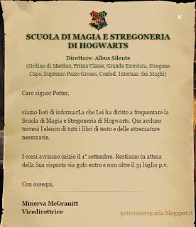L1C4M2: Lettera di ammissione a Hogwarts