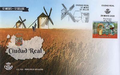 Ciudad Real, 12 meses, 12 sellos, 12 provincias, matasellos, sello, sobre, filatelia,
