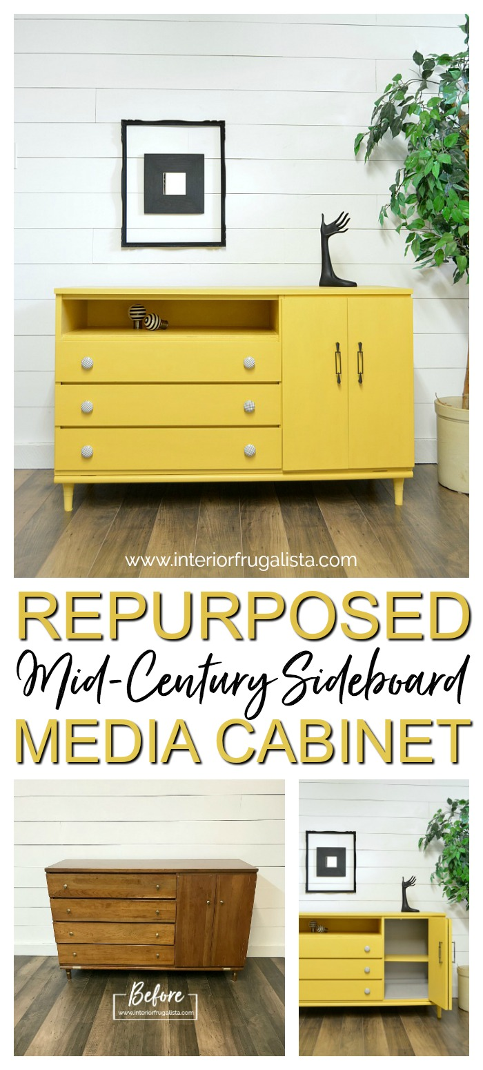 Repurposed Mid Century Cabinet Before and After