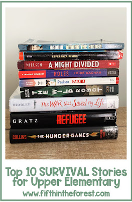 """Image of stack of upper elementary novels. The title reads """"Top 10 Survival Stories for Upper Elementary www.fifthintheforest.com"""""""