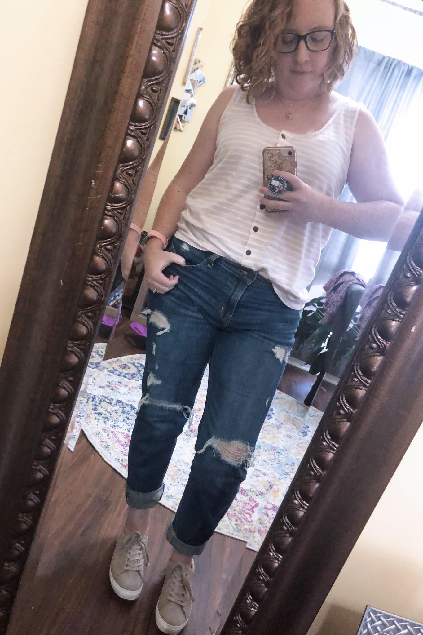 pink striped tank bf jeans