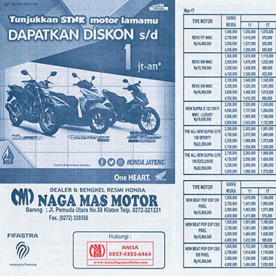 BROSUR KREDIT MOTOR HONDA TERBARU | NAGAMAS MOTOR KLATEN