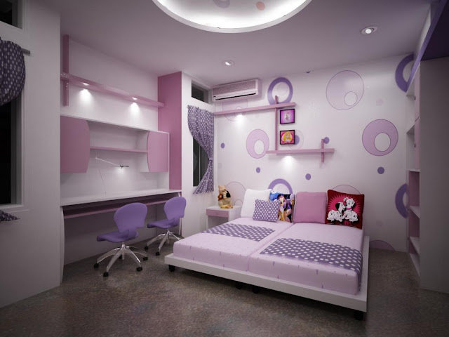 P O P design ideas for ceilings of girly bedroom with POP wall art