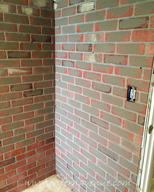 Painted faux brick panel