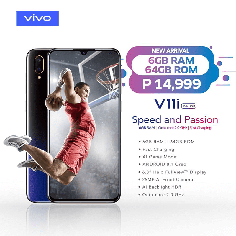 Vivo V11i with bigger 6GB RAM, but lower 64GB storage launched in the Philippines