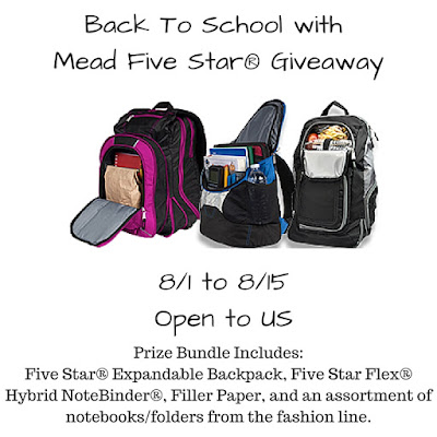 Enter the Back To School with Mead Five Star Giveaway. Ends 8/15