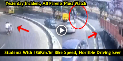 Yesterday Road Accident : Bike Hits Divider