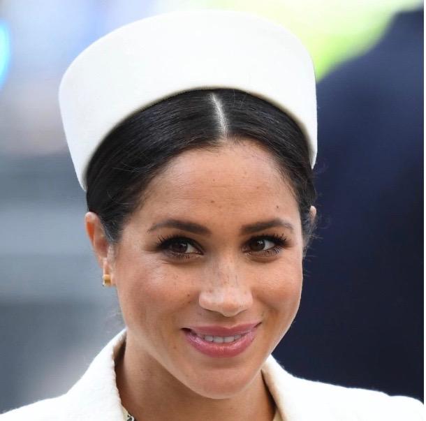 Meghan Markle in white pillbox hat