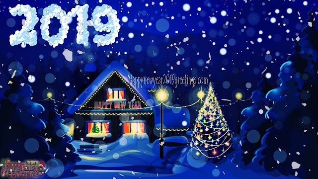 Happy New Year 2019 Ice Falling Desktop Background Scenery Download Free