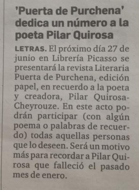 PILAR QUIROSA. ASOC. CULTURAL PUERTA DE PURCHENA