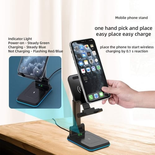 DM 2 in 1 Dual Fast Wireless Charging Stand 10W Qi