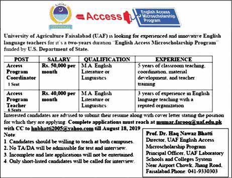 University Of Agriculture Faisalabad August 19 Jobs