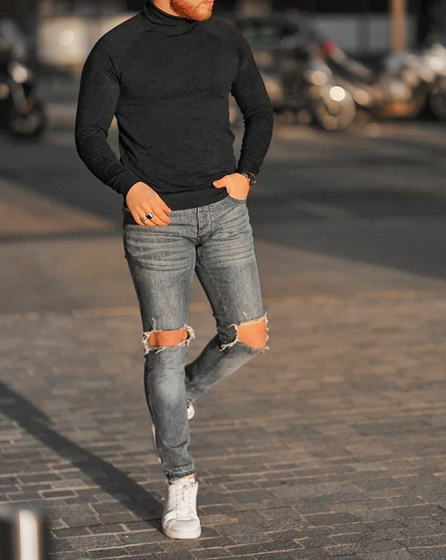 Full sleeve's high neck and jeans.