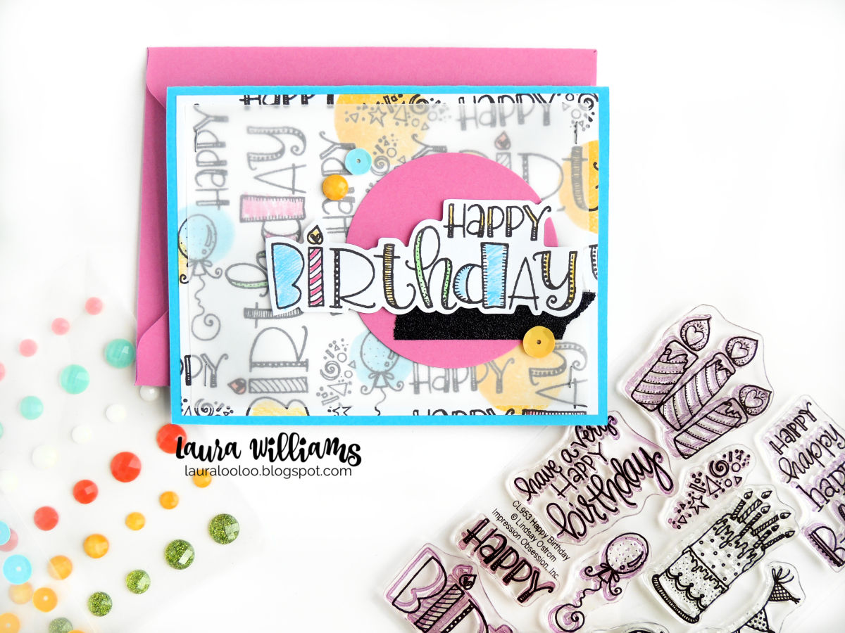 Make four birthday cards at one time by following this simple cardmaking tutorial with Impression Obsession stamps.