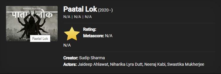 Download Paatal Lok (2020) Season 1 Hindi 720p [300MB]