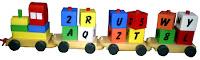 mainan edukasi kayu alphabet train