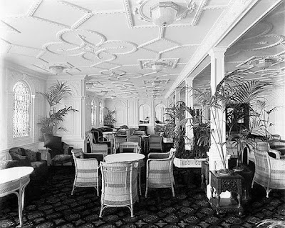 Salón de palmeras del transatlántico Olympic predecesor del Titanic