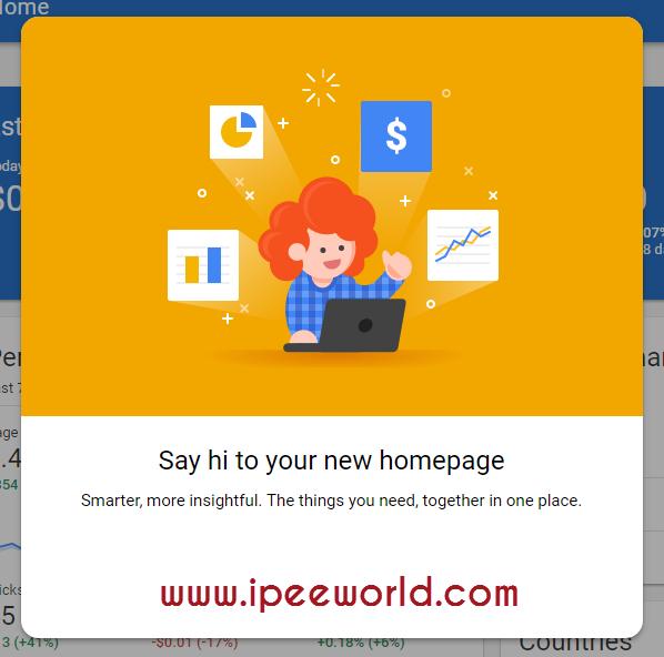 AdSense New UI Welcome Note