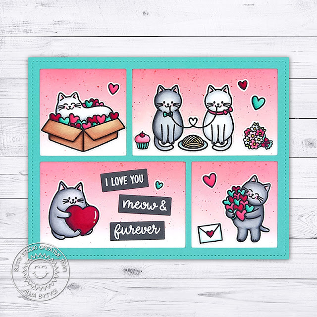Sunny Studio Stamps: Cat Love Themed Punny Valentine's Day Card by Anja (using Meow & Furever & Comic Strip Speech Bubbles Dies)