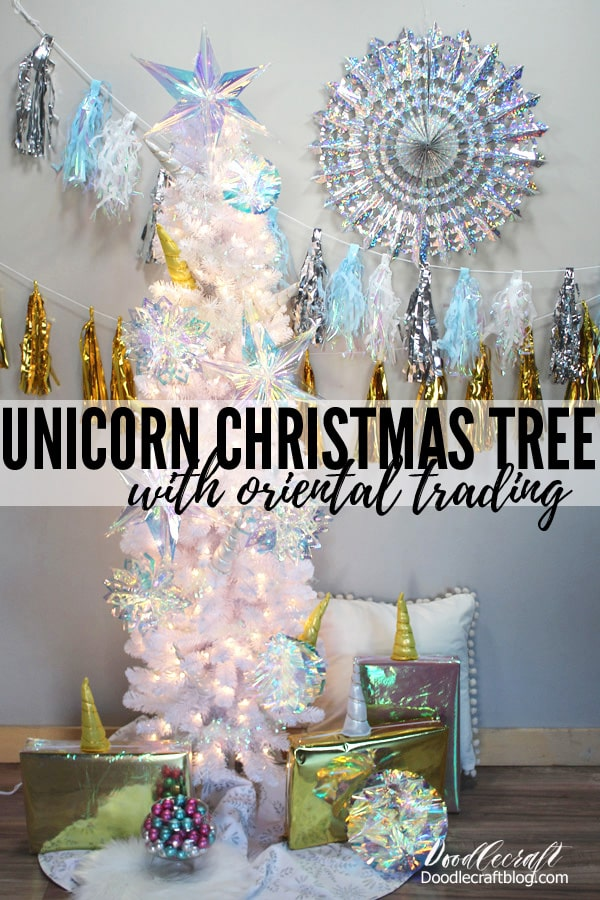 Unicorn Christmas Tree with Iridescent Decorations from Oriental Trading