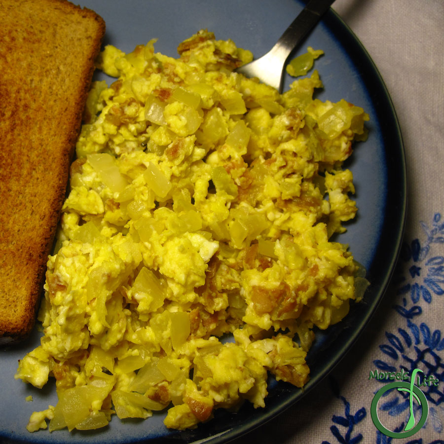 Morsels of Life - Chorizo Scrambled Eggs - Your basic scrambled eggs flavored with savory chorizo and onions.