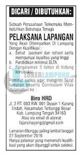 Info Loker Lampung Terbaru Sebagai Pelaksana Lapangan September 2016