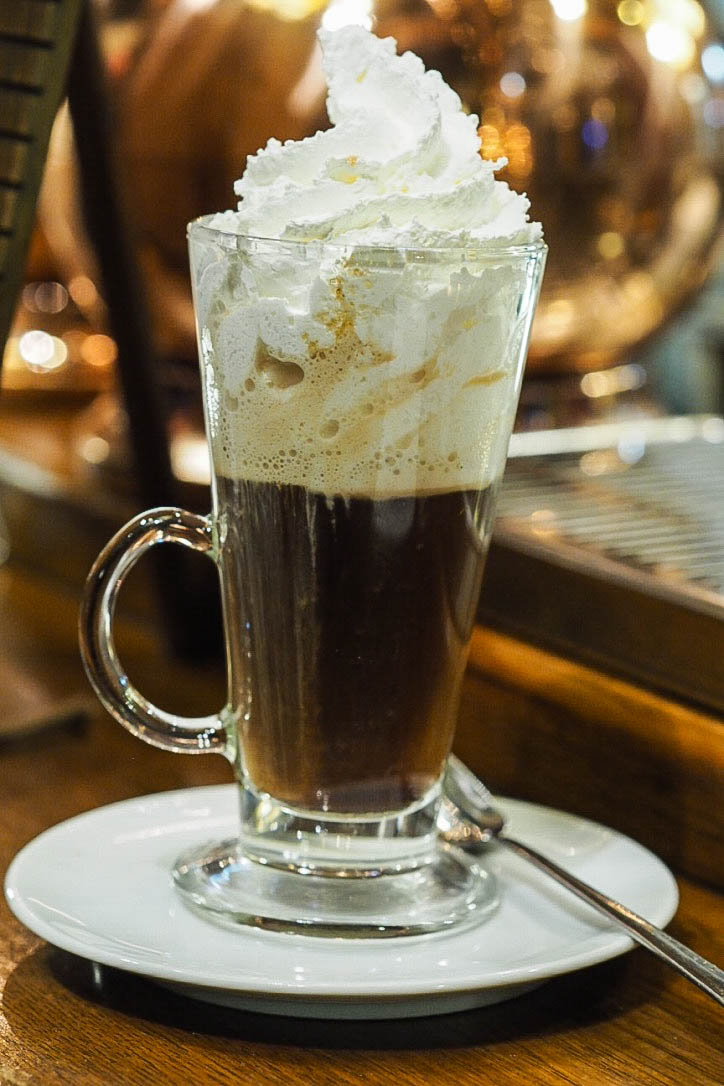 Irish coffee with whipped cream