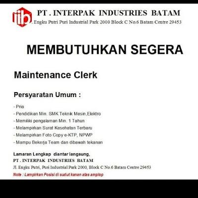 Kerjabatam.com PENGUMUMAN RESMI LOKER PT. Interpak Industries Batam