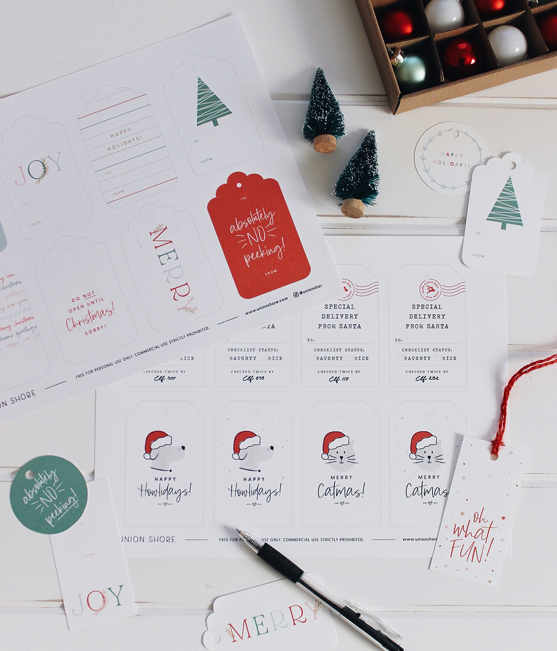 Free Printable Holiday Gift Tags | Union Shore Blog