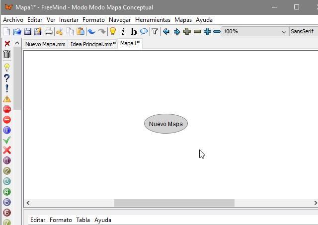 Interfaz programa FreeMind