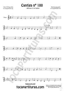 Oboe Sheet Music for Cantiga de Amigo Nº 100 de Alfonso X El Sabio Classical Music Scores