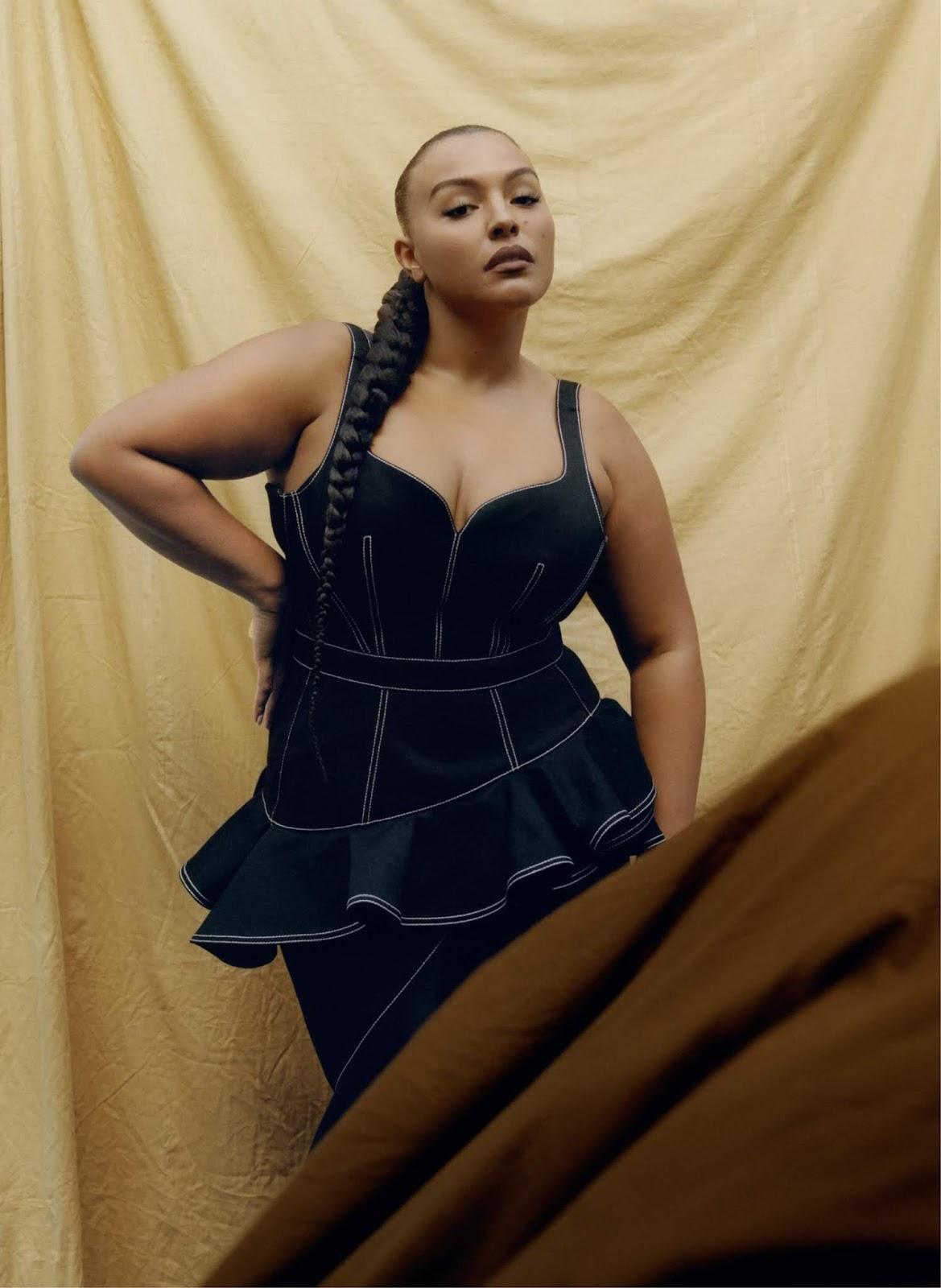 Paloma Elsesser poses in Alexander McQueen dress