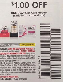 "$1/1 Olay Skin Care Product Coupon from ""SMARTSOURCE"" insert week of 7/28 (EXP:8/24)."