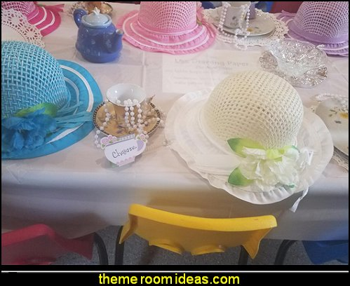 Fancy Girls Tea Party hats  flower garden tea party themed decorations - Floral Fiesta garden party decor -  Victorian garden party - backyard tea party -  Vintage tea party decorations - birthday tea party -  Spring garden Party - Victorian High Tea style  entertaining - Tea party decorations