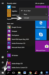 Cara Uninstall Aplikasi Di Laptop dari Start Menu
