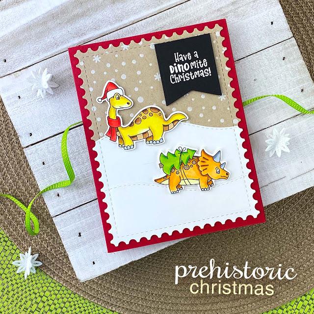 Dinosaur Christmas Card by Jennifer Jackson | Prehistoric Christmas Stamp Set, Petite Snow Stencil, Land Borders Die Set and Framework Die Set by Newton's Nook Designs