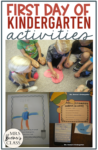 Activities to do with your students on their first day of Kindergarten, including making keepsakes, a lesson on how to treat eachother, and a bulletin board display craftivity