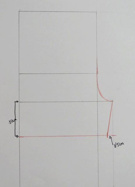 Línea curva del tiro delantero en el patrón