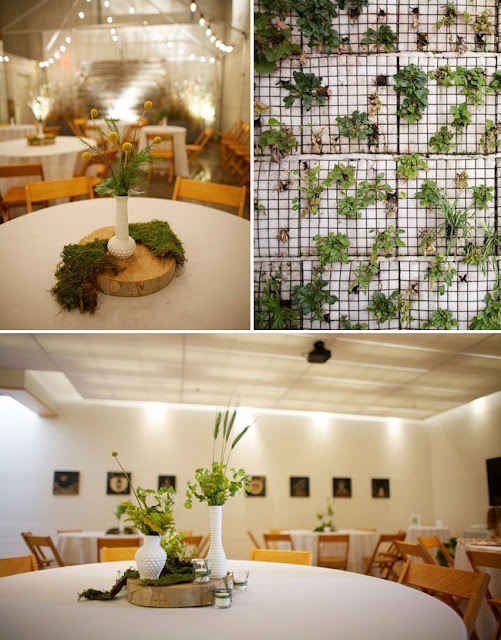 Using moss and vines for decor and table centerpieces adds a freshness to the look of a room