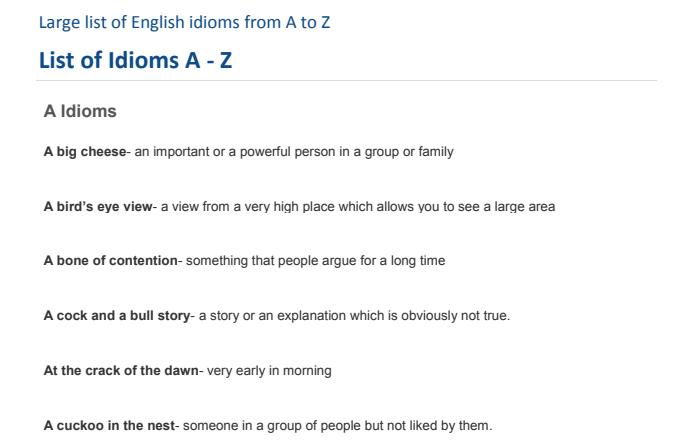 English Idioms And Phrases Pdf