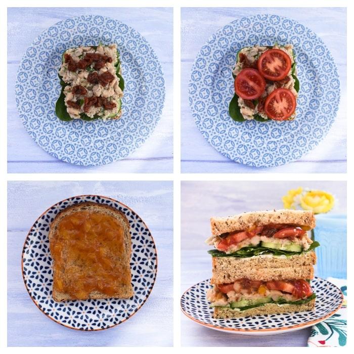 Vegan Italian White Bean & Tomato Sandwich - Step 3 - adding the last toppings